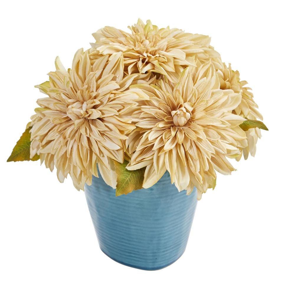 11 in. High Cream Dahlia Artificial Arrangement in Blue Ceramic Vase