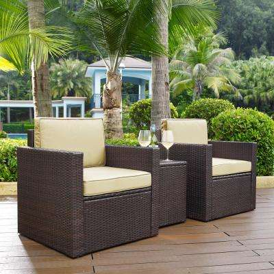 Palm Harbor 3-Piece Wicker Outdoor Conversation Set with Sand Cushions