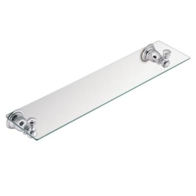 Kingsley 5-1/4 in. L x 2-9/10 in. H x 22-3/4 in. W Wall-Mount Clear Glass Shelf in Chrome