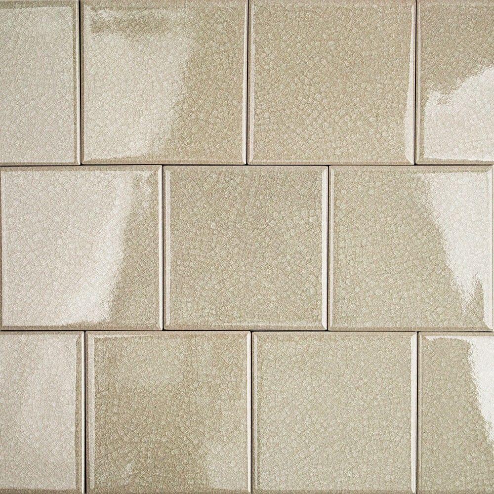 Sample Beige Cream Hand Painted Glass Pattern Mosaic Tile: Splashback Tile Roman Selection Raw Ginger Glass Mosaic