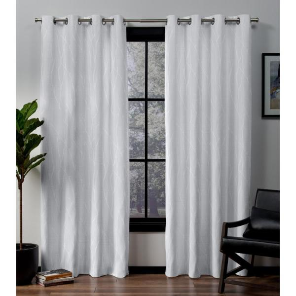 Forest Hill 52 in. W x 108 in. L Woven Blackout Grommet Top Curtain Panel in Winter (2 Panels)