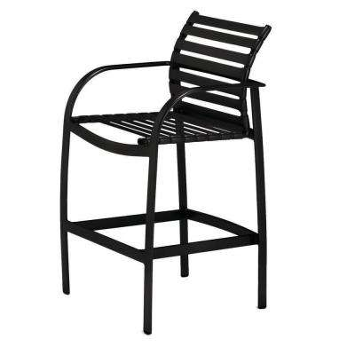 Scandia Black Commercial Strap Patio Bar Stool