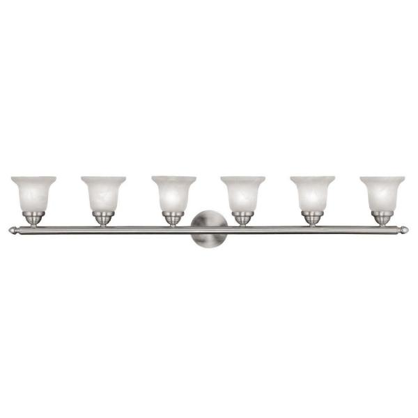 6-Light Brushed Nickel Bath Light with White Alabaster Glass