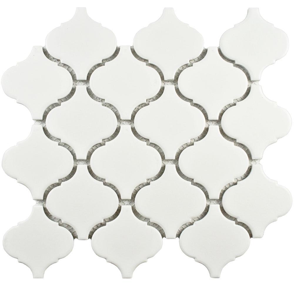 Metro Lantern Matte White 9-3/4 in. x 10-1/4 in. x 6 mm Porcelain Mosaic Tile