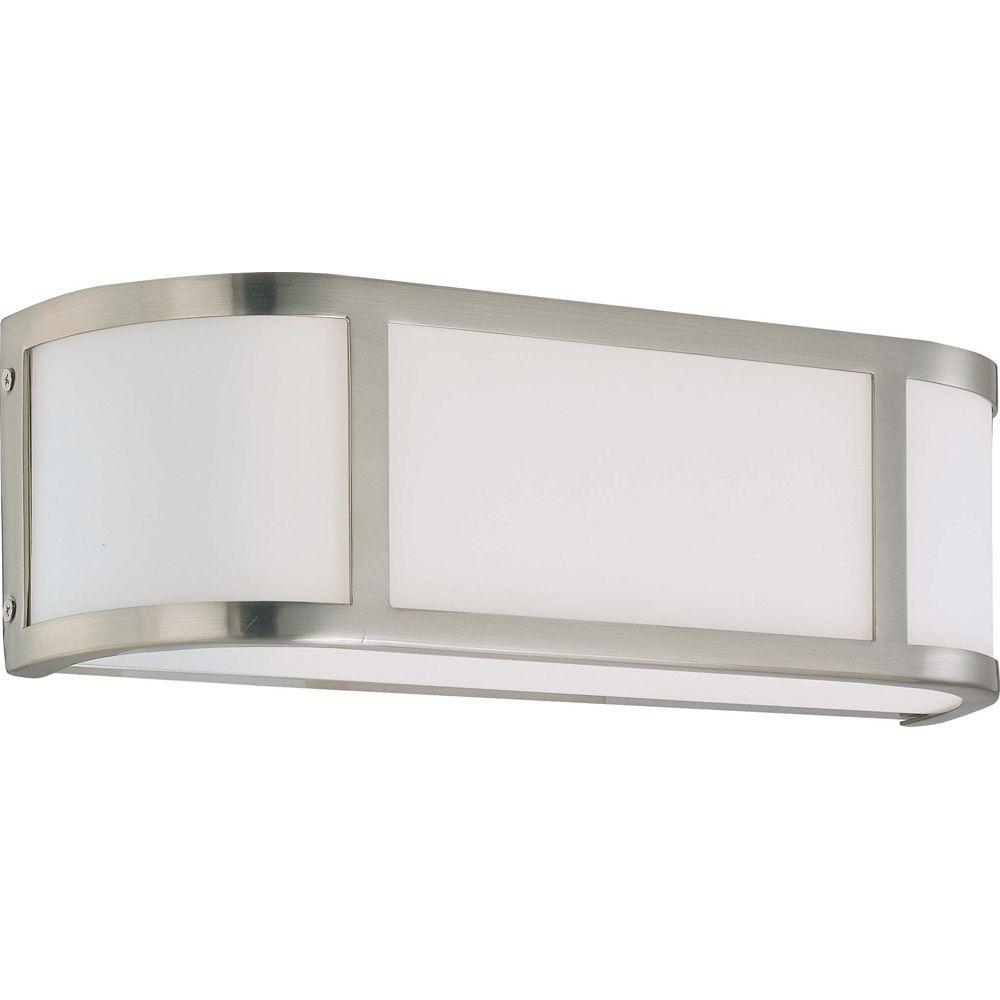 Andra 2-Light Brushed Nickel Sconce with Satin White Glass