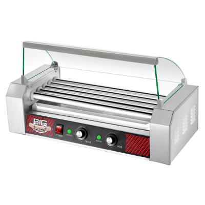 Commercial 1000-Watts 12-Hot Dog 5-Roller Grilling Machine with Cover