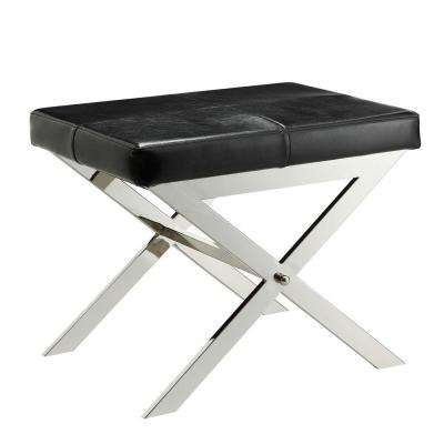 Richardson Black Bonded Leather Vanity Stool