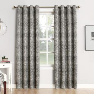 Sun Zero Neema Woven Home Theater Grade Blackout Coal Grommet Single Curtain Panel - 52... by Sun Zero