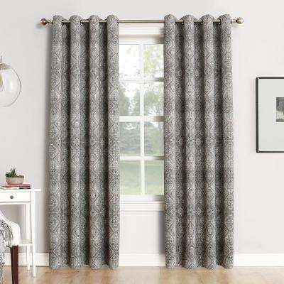 Neema Woven Home Theater Grade Blackout Coal Grommet Single Curtain Panel - 52 in. W x 95 in. L