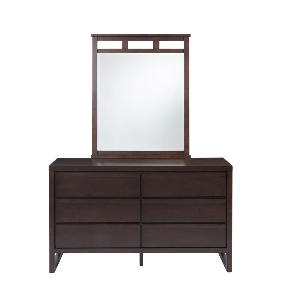 Athena 6-Drawer Dark Chocolate Dresser with Mirror