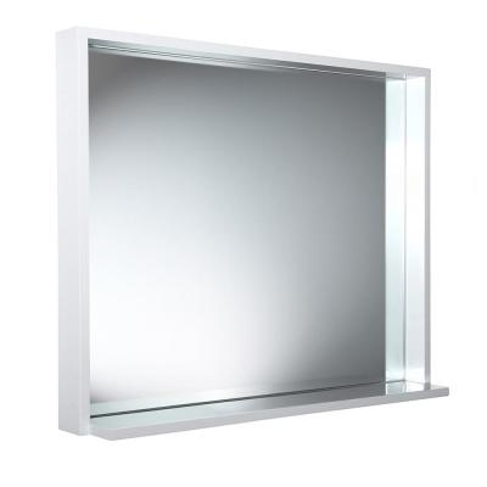 Allier 35.50 in. W x 31.50 in. H Framed Wall Mirror with Shelf in White