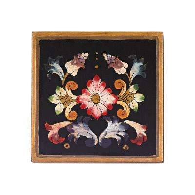 4 in. 4-Piece Square Gemstone Black Coaster Set
