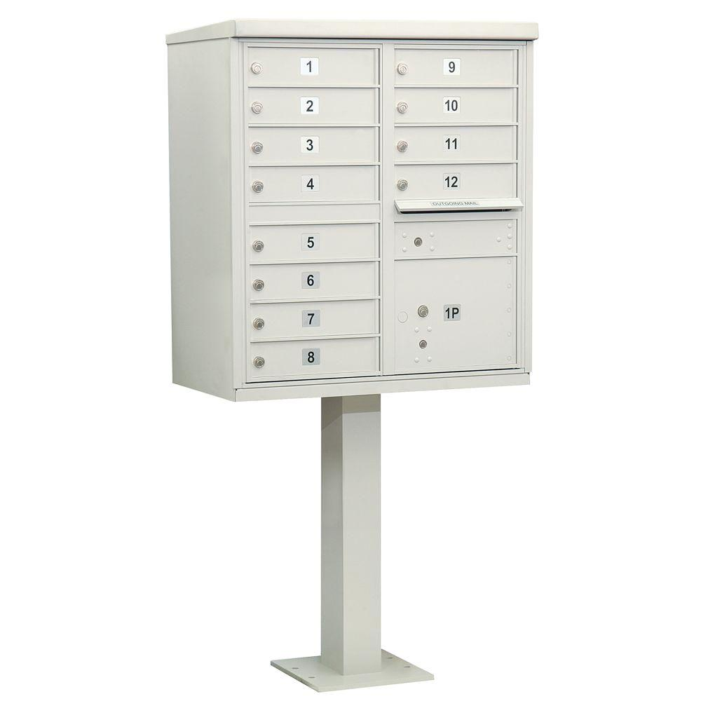 Salsbury Industries Gray USPS Access Cluster Box Unit with 12 A Size Doors and Pedestal