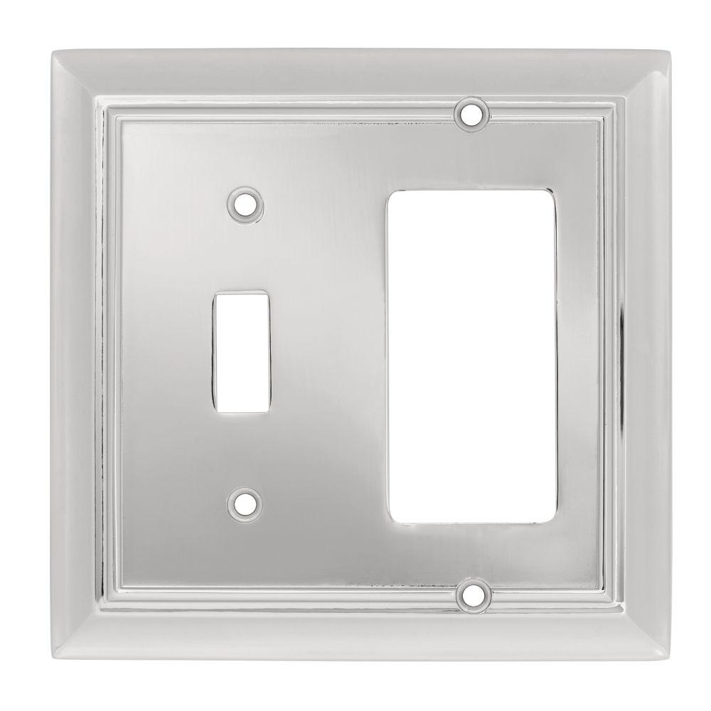 Liberty Architectural Die-Cast Zinc 2 Gang Combination Toggle/Rocker Switch Wall Plate - Polished Chrome