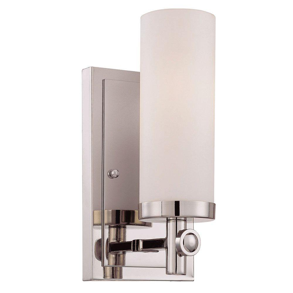 1-Light Polished Nickel Sconce with White Opal Etched Glass
