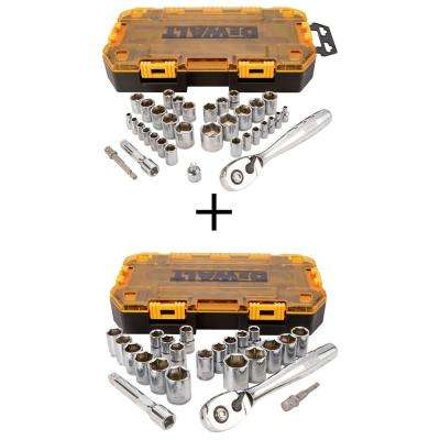 1/4 in. and 3/8 in. Drive Socket Set (34-Piece) with Bonus 1/2 in. Ratchet and Socket Set (23-Piece)