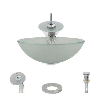 Glass Vessel Sink in Frosted with Waterfall Faucet and Pop-Up Drain in Chrome