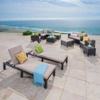 Fernanda Dark Brown 13-Piece Wicker Outdoor Sectional Set with Beige Cushions and Lounges