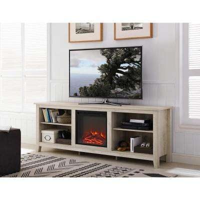 Wood Media Tv Stand Console With Fireplace White Oak