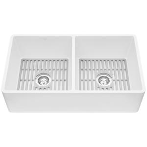 Matte Stone White Composite 33 in. Double Bowl Flat Farmhouse Apron-Front Kitchen Sink with Strainers and Silicone Grids