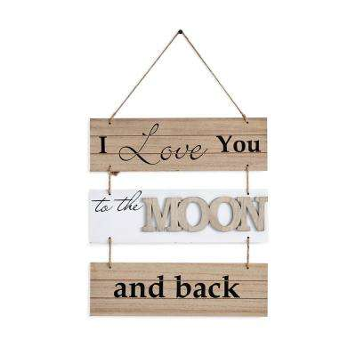 Inspirational I Love to the Moon and Back Sectioned Wooden Wall Plaque Sign