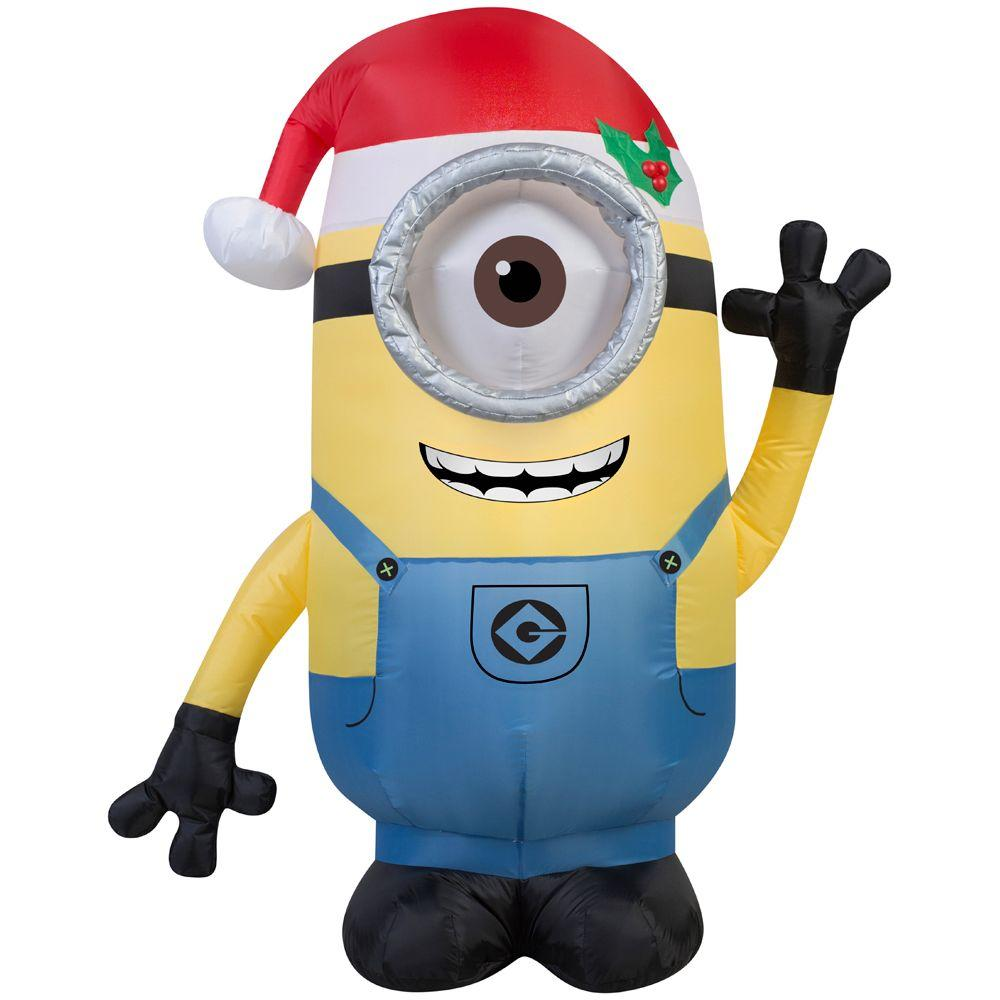 gemmy 42 in h inflatable minion stuart with santa hat 38291 the