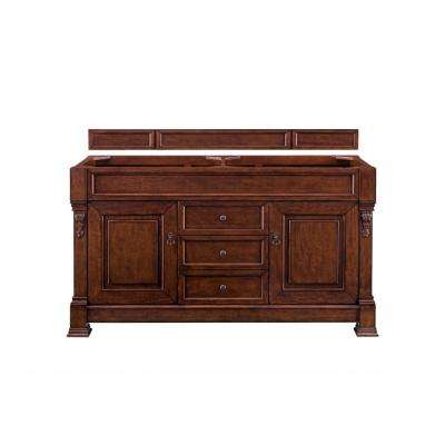 Brookfield 60 in. Single Vanity in Warm Cherry with Quartz Vanity Top in Grey Expo with White Basin