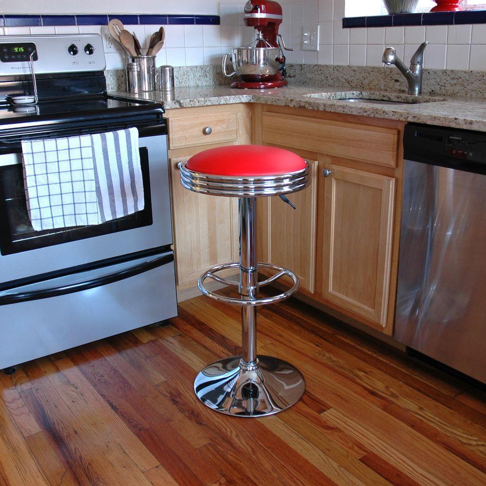 AmeriHome Adjustable Height Chrome Swivel Cushioned Bar Stool BS1208R