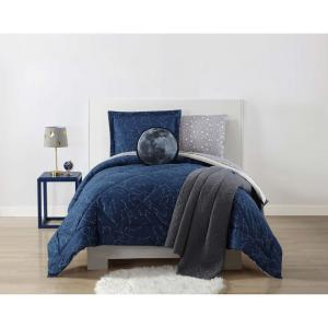 Night Sky Printed Midnight Blue Full / Queen Comforter Set by