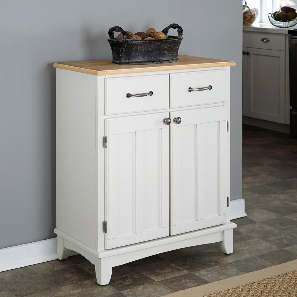 White Sideboards And Buffets: Home Styles White And Natural Buffet With Storage-5001