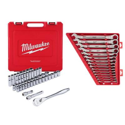 1/2 in. Drive SAE/Metric Ratchet and Socket Mechanics Tool Set with SAE Combination Ratcheting Wrench Set (62-Piece)