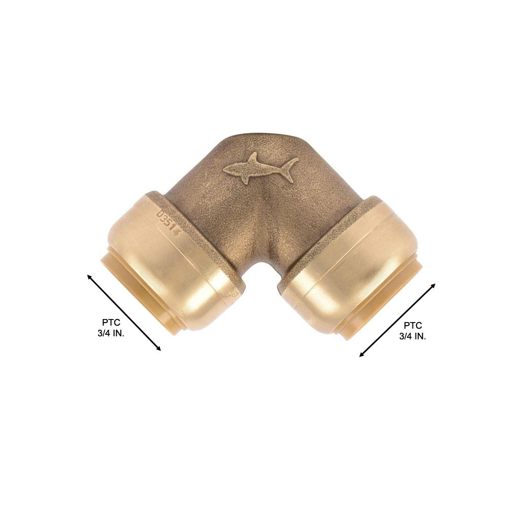 """10 PIECES 3//4/"""" X 3//4/"""" SHARKBITE STYLE PUSH FIT ELBOWS FITTINGS LEAD FREE BRASS"""