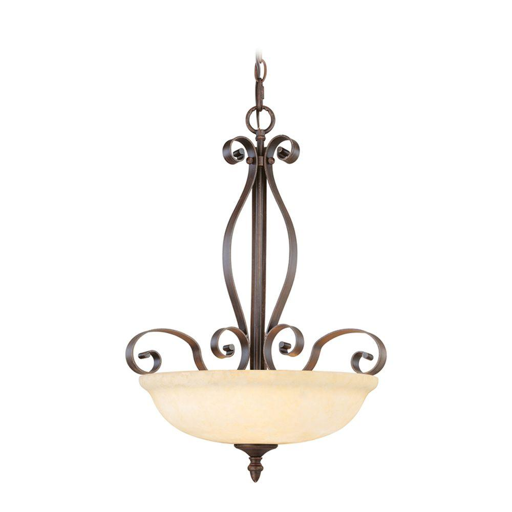 Livex Lighting Providence 3-Light Imperial Bronze Inverted Pendant with Vintage Scavo Glass