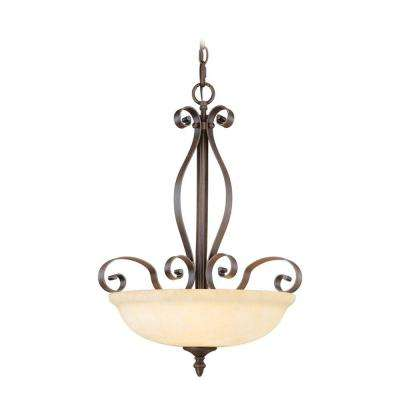 Providence 3-Light Imperial Bronze Inverted Pendant with Vintage Scavo Glass