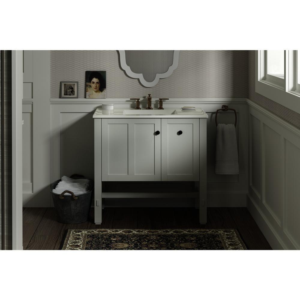 Tresham 36 in. W Vanity in Linen White with Vitreous China Vanity Top in White with White Impressions Basin
