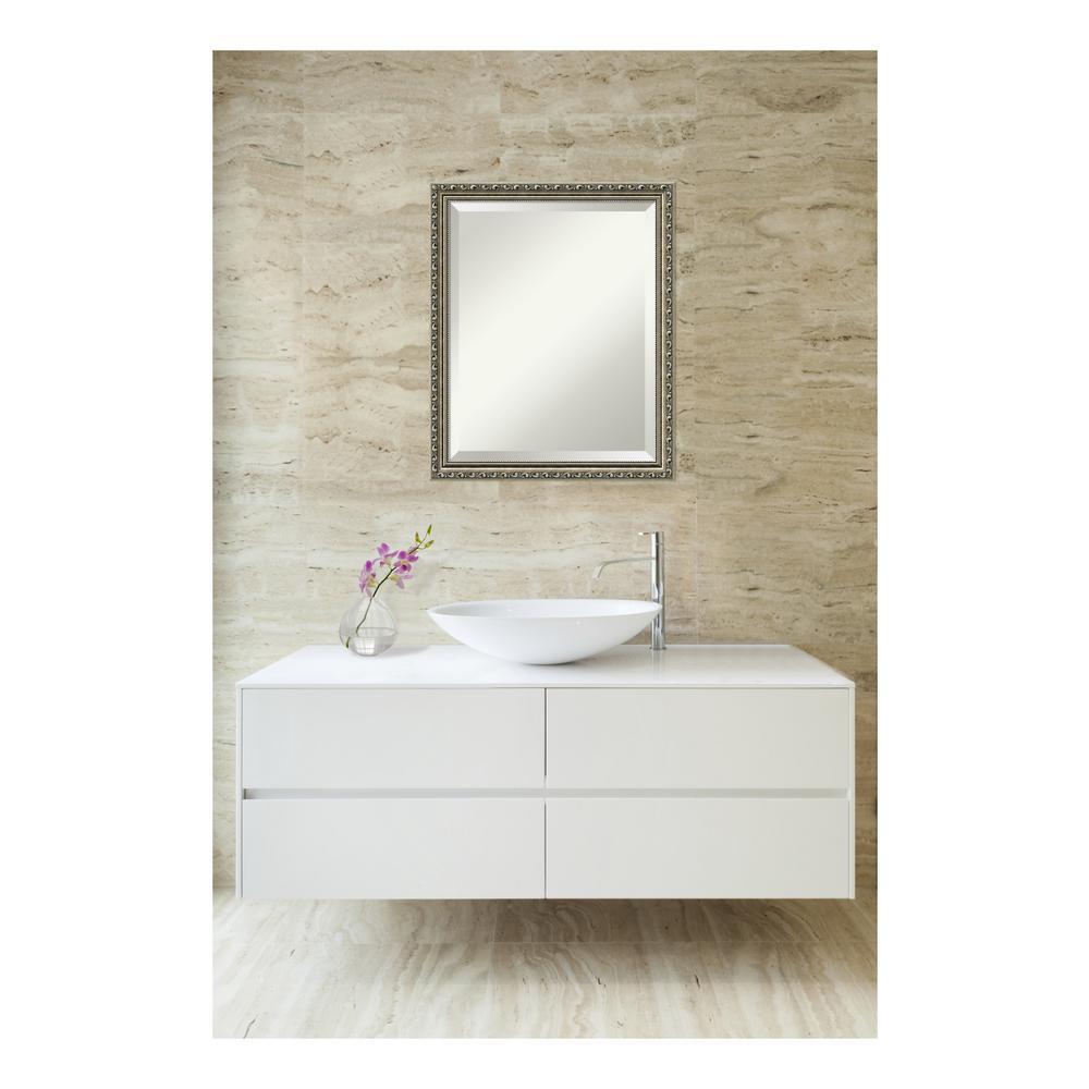 Parisian Silver Wood 19 in. W x 23 in. H Single Traditional Bathroom Vanity Mirror