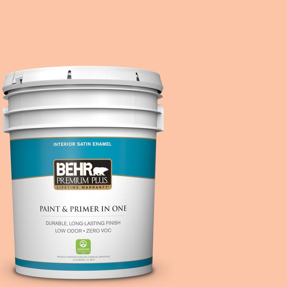 BEHR Premium Plus 5 gal. #240A-3 Bright Citrus Satin Enamel Zero VOC Interior Paint and Primer in One