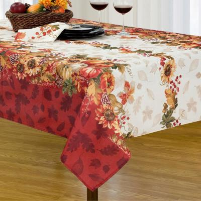 52 in. W x 70 in. L Multi Color Swaying Leaves Bordered Fall Tablecloth