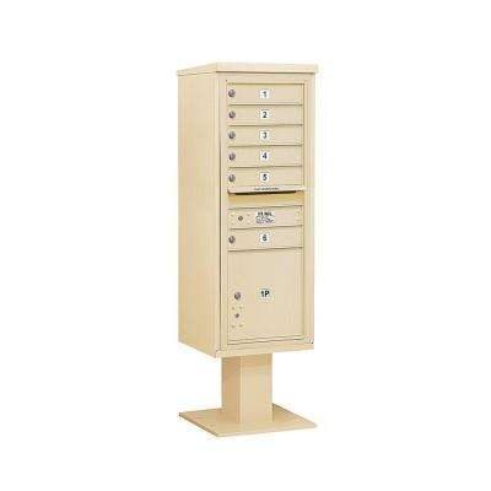 3400 Series Sandstone Mount 4C Pedestal Mailbox with 6 MB1 Doors/1 PL5