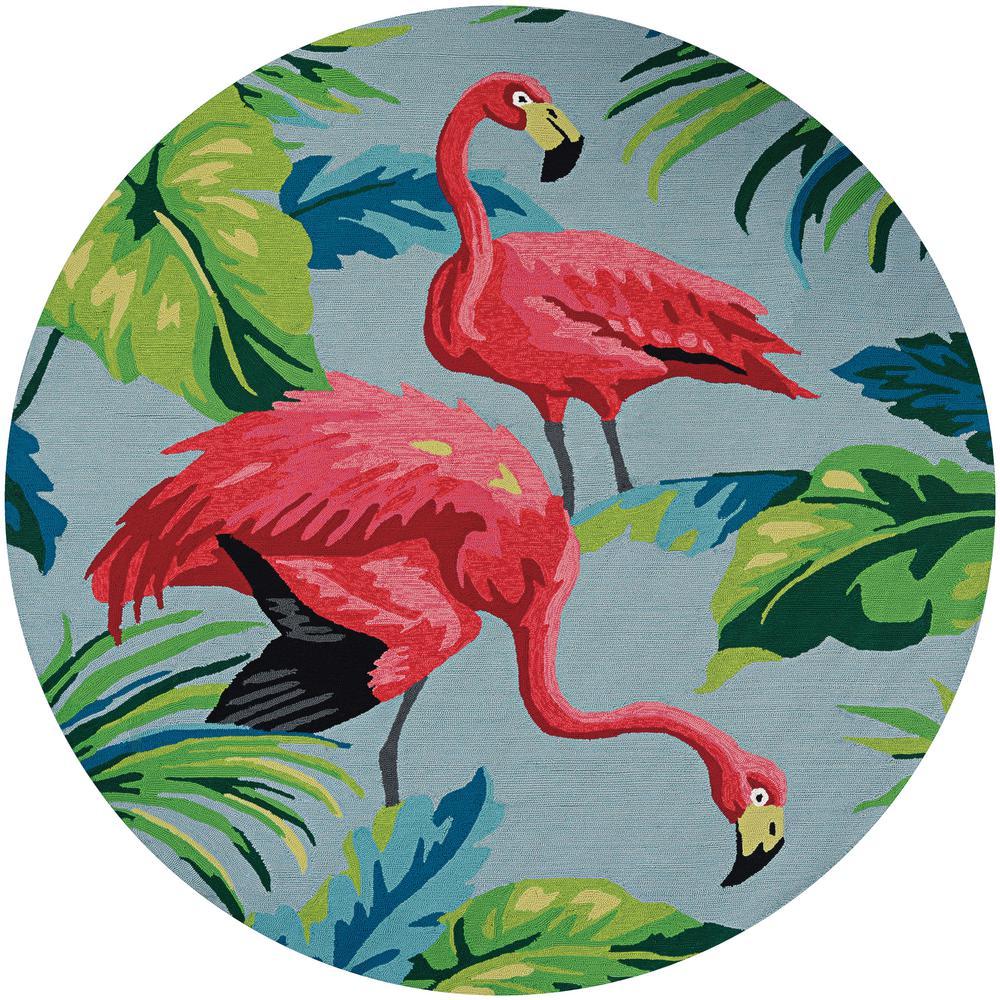 Covington Flamingos Multi 8 ft. x 8 ft. Round Indoor/Outdoor Area Rug