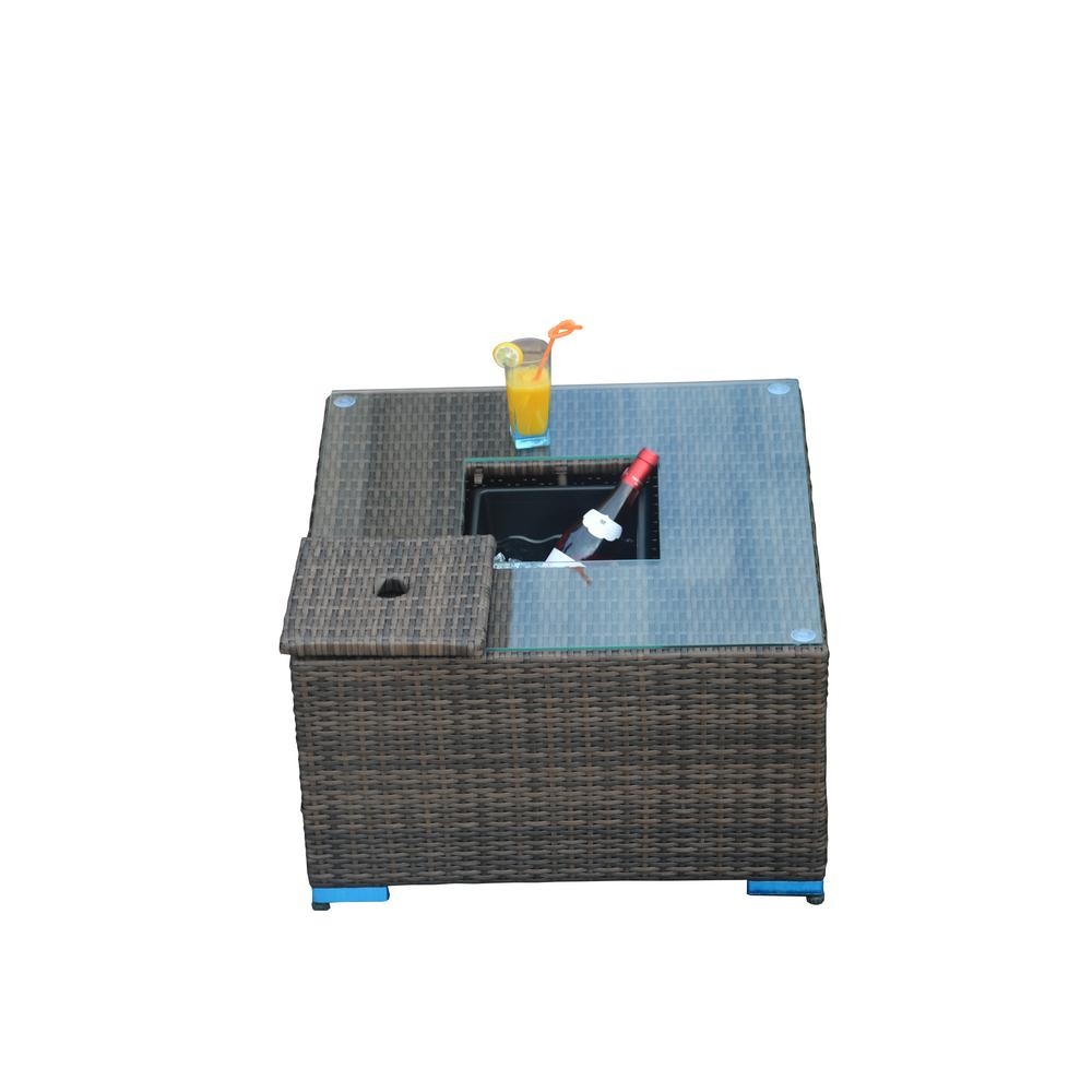 La Jolla Outdoor Brown Wicker Coffee Table with Ice Bucket