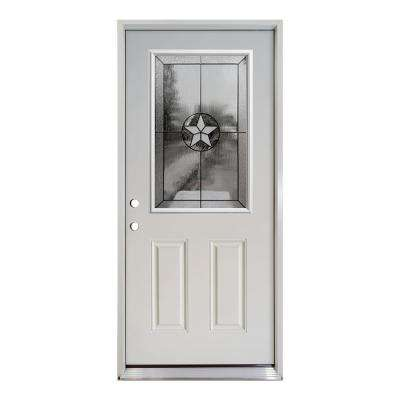 36 in. x 80 in. Reliant Series Primed White Right-Hand Half Lite Patriot Decorative Glass Fiberglass Prehung Front Door