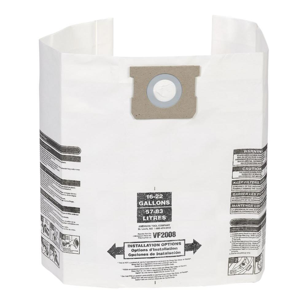 Ridgid Dust Bag Filter For 15 Gal To 22 Vac And Genie Wet Dry Vacs 3 Pack Vf2008 The Home Depot