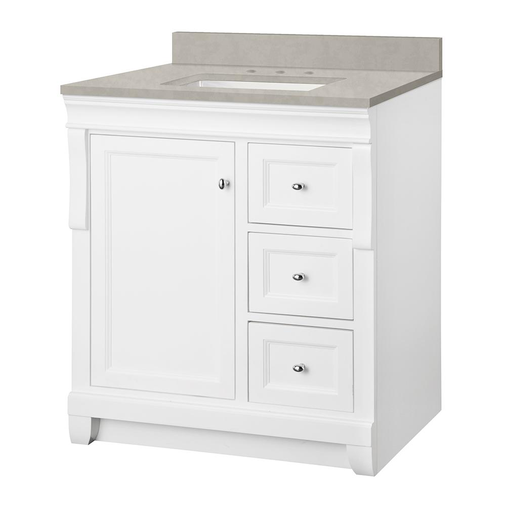 Home Decorators Collection Naples 31 in. W x 22 in. D Vanity Cabinet in White with Engineered Marble Vanity Top in Dunescape with White Sink
