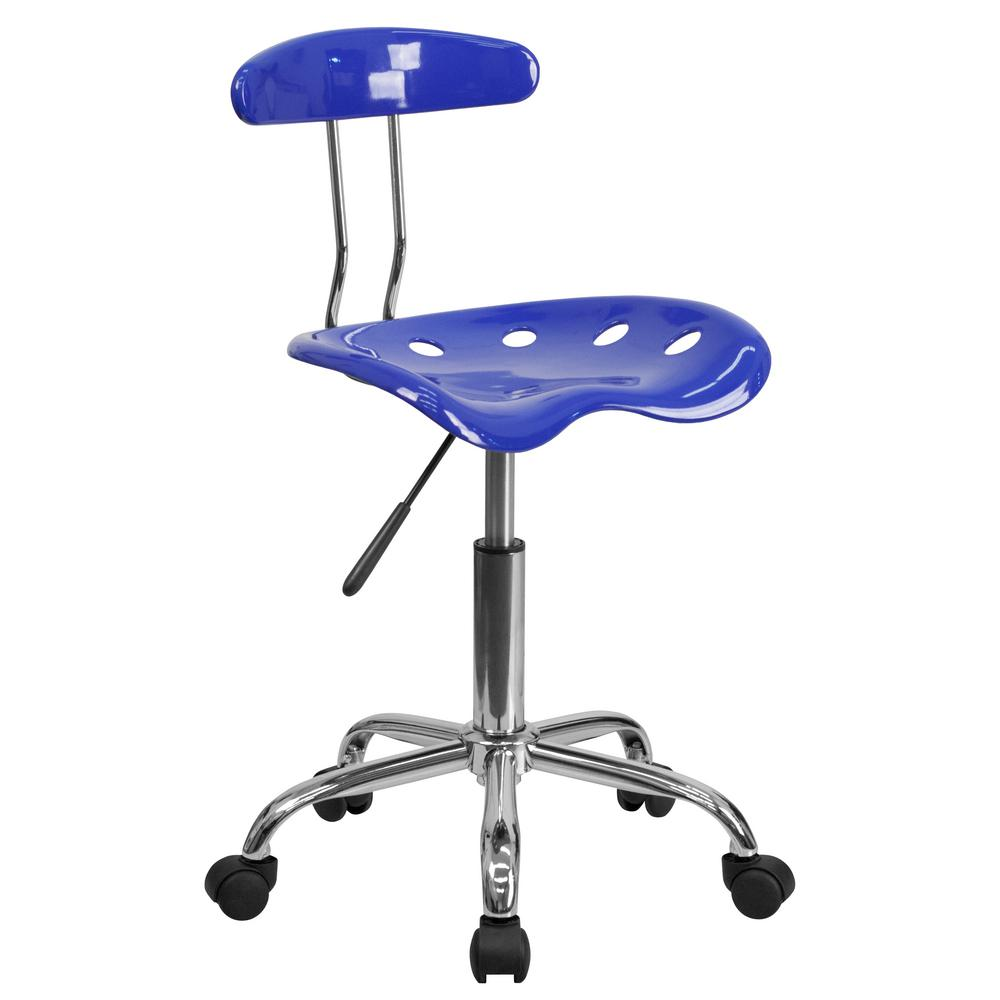 Flash Furniture Vibrant Nautical Blue And Chrome Task Chair With Tractor  Seat