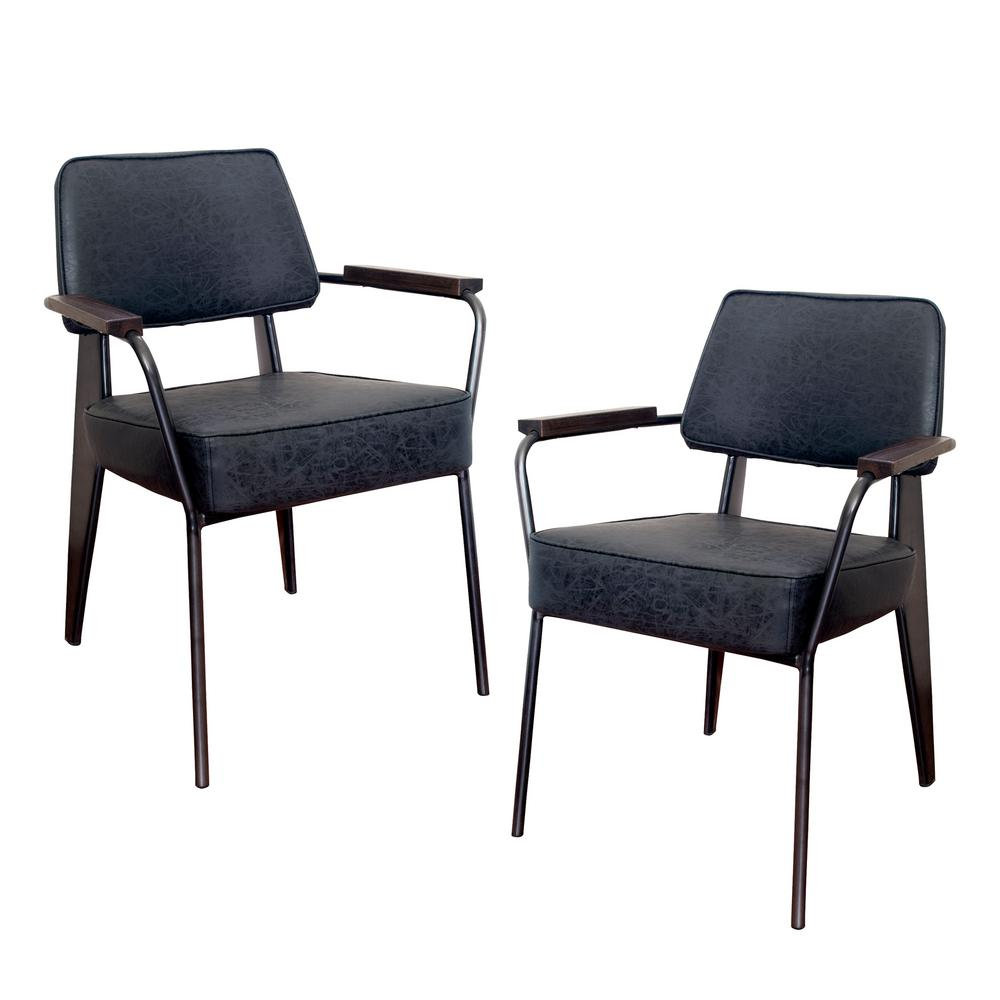 Black Faux Leather Fauteuil Direction Accent Arm Chair (Set of 2)