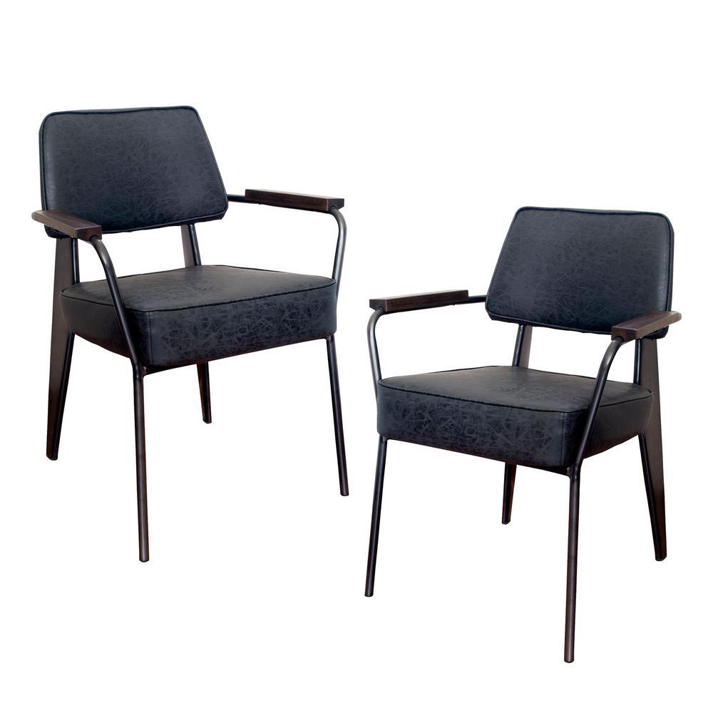 Black Faux Leather Fauteuil Direction Accent Arm Chair (Set of 2)