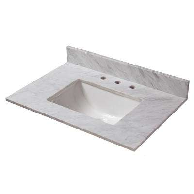 31 in. W x 22 in. D Marble Vanity Top in Carrara with White Trough Basin