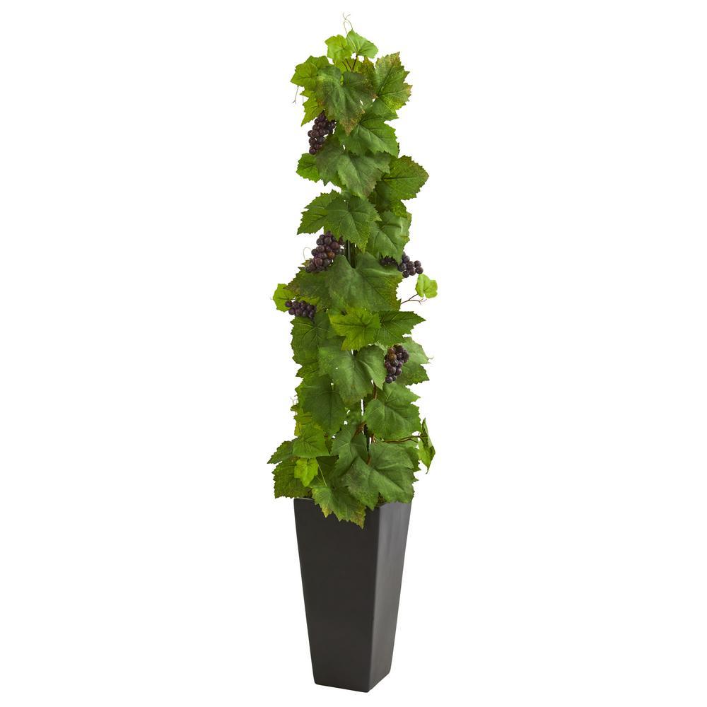 Indoor Grape Leaf Artificial Plant in Black Planter
