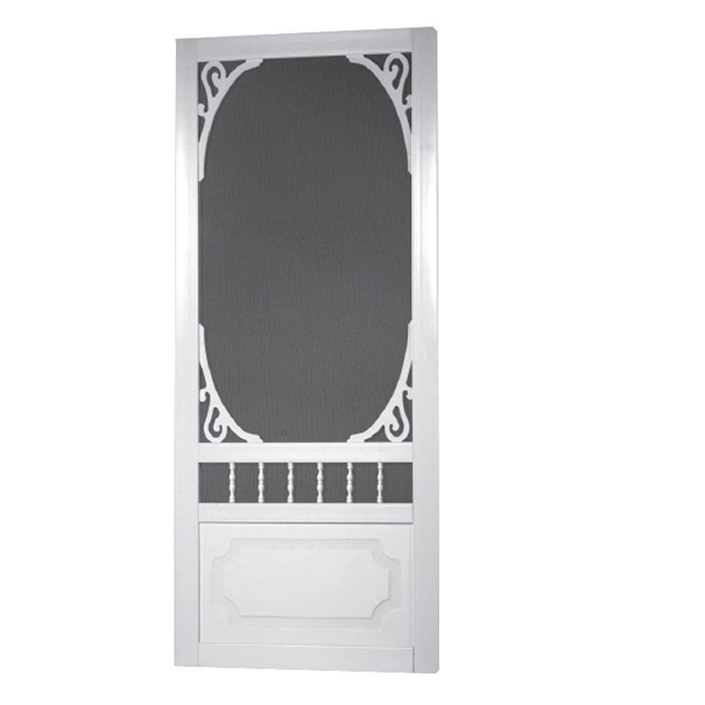 36 in. x 80 in. Belle Harbour White Screen Door with Hardware